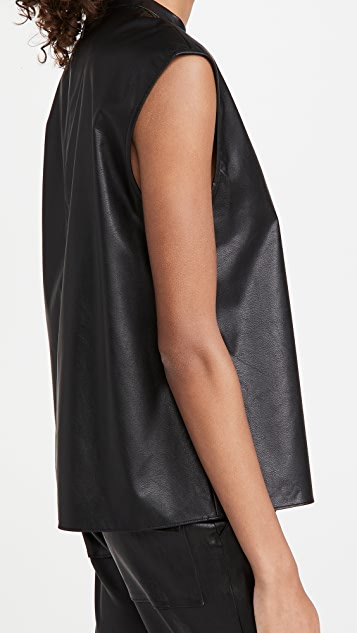 Tibi Faux Leather Mock Neck Top