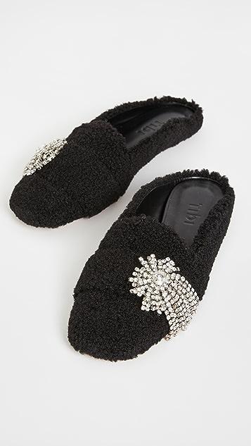 Tibi Alfie 连毛羊皮便鞋