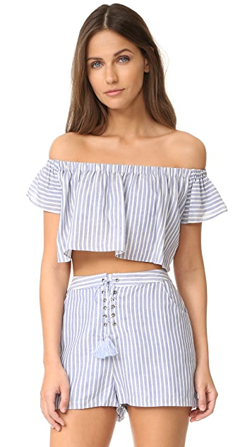The Jetset Diaries Haven Off Shoulder Crop Top