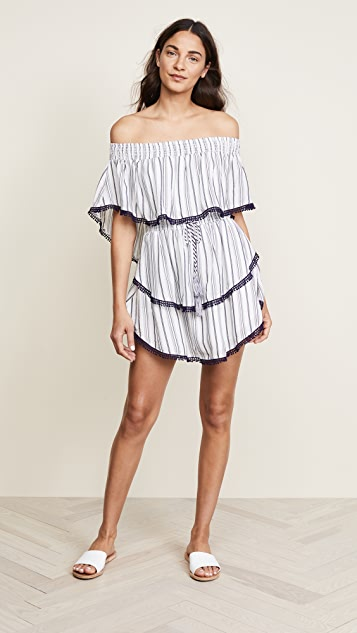 Aries Stripe Mini Dress in White. - size S (also in M,XS) The Jetset Diaries