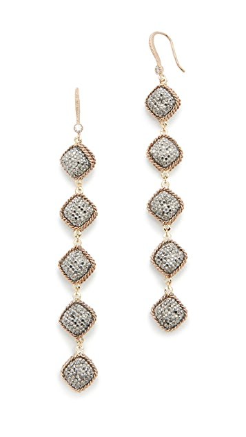 Theia Jewelry Five Tier Hand Set Statement Earrings