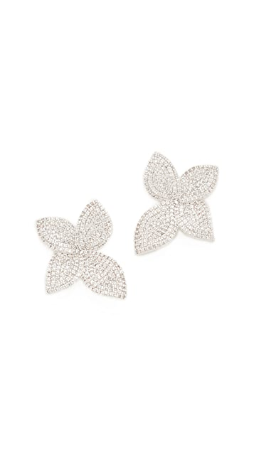 Theia Jewelry Plumeria Micro Pave Leaf Earrings