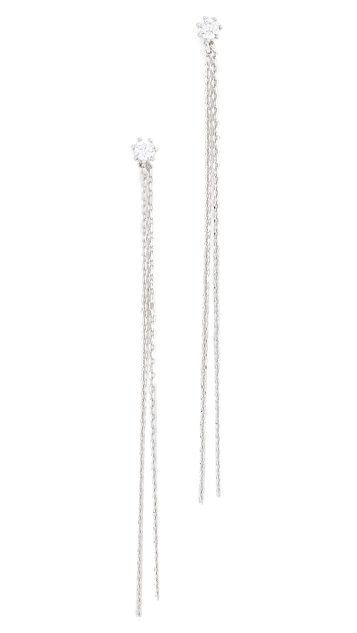 Theia Jewelry Vintage Stud Earrings with Long Chains