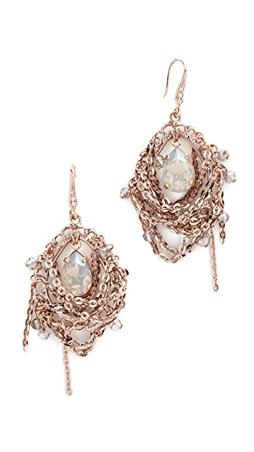 Theia Jewelry Chain Draped Oval Drop Earrings