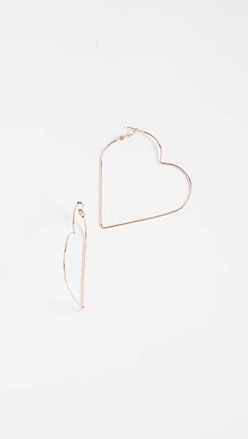 Theia Jewelry Polished Heart Hoop Earrings