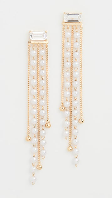 Theia Jewelry Ella Drop Earrings with Petite Imitation Pearls