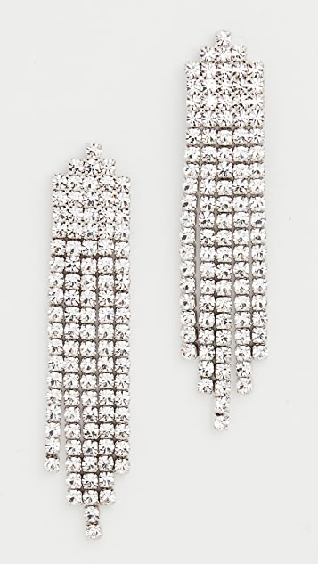 Theia Jewelry Five Line Vertical Clear CZ Waterfall Drop Earrings
