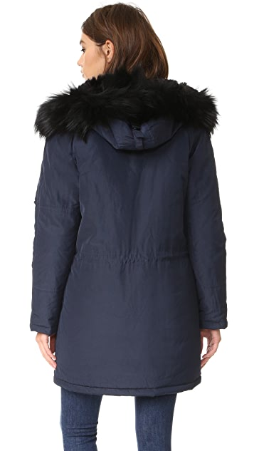 The Kooples Satin Fur Parka
