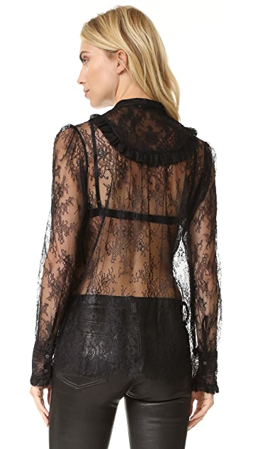 The Kooples Lace & Frill Blouse