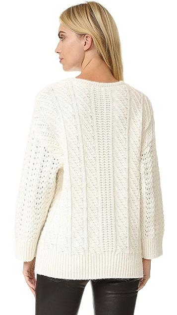 The Kooples Twist Braid Round Neck Pullover