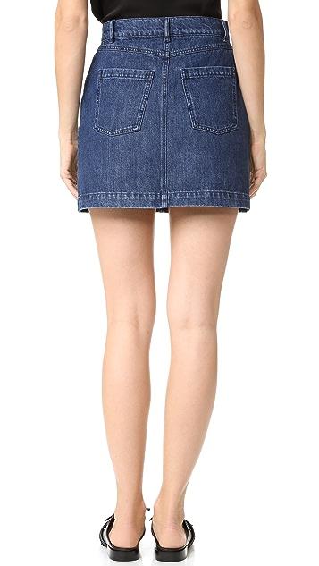 The Kooples Denim Embroidered Miniskirt