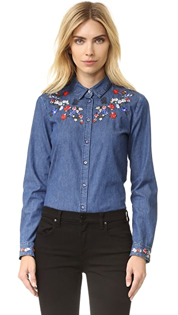 The Kooples Embroidered Denim Button Down