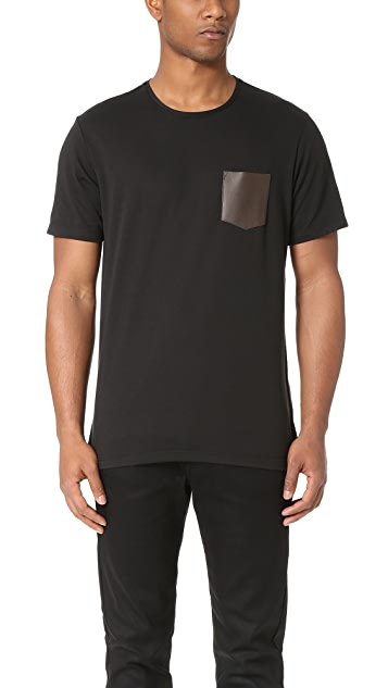 The Kooples Leather Pocket Tee