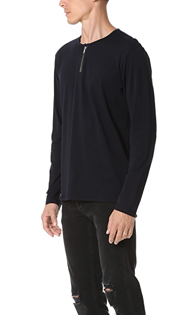 The Kooples Zip Collar Long Sleeve Tee