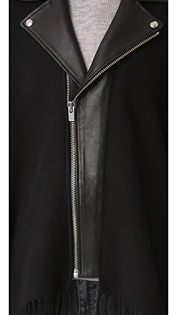 The Kooples Leather Collar Wool Poncho