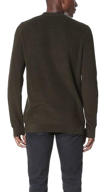 The Kooples Zip Shoulder Crew Sweater