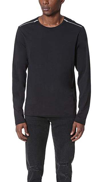 The Kooples Zip Shoulder Long Sleeve Tee