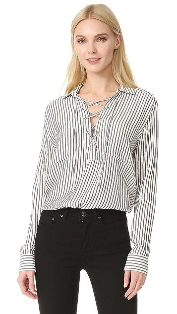 fc1f398b3c The Kooples Lace Up Striped Shirt   SHOPBOP
