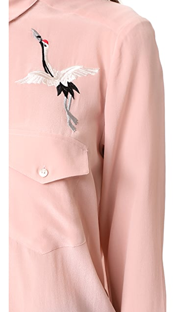 The Kooples Bird Embroidered Button Down