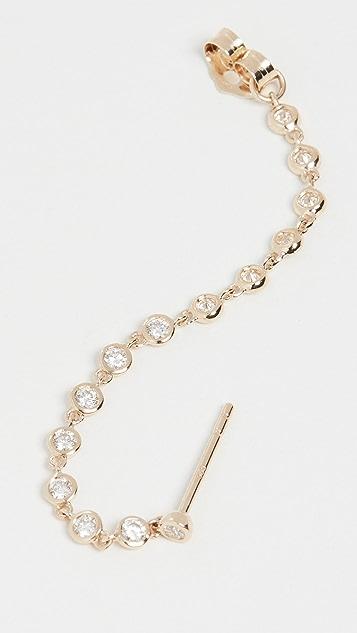 The Last Line 14k Diamond Bezel Chain Earring