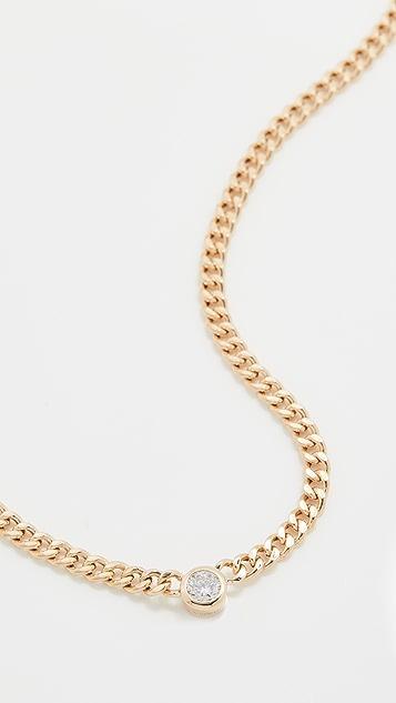 The Last Line Diamond Curb Necklace with Bezel Set Diamond