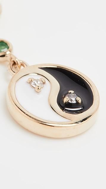 The Last Line Medium Diamond Huggie with Bezel Set Rubies