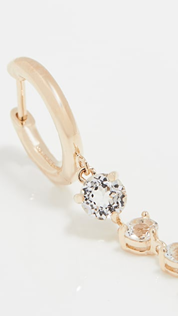 The Last Line Gold Slim Hoop with 5 Solitaire White Topaz