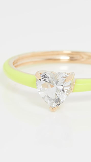 The Last Line Yellow Gold with Neon Yellow Enamel Ring