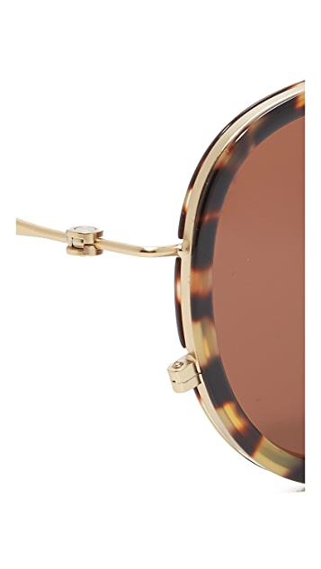 Tomas Maier Eye Rim Aviator Sunglasses