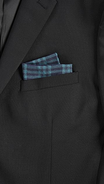 Thomas Mason Plaid Pocket Square