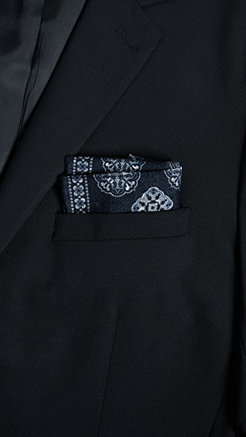Thomas Mason Stamp Print Pocket Square
