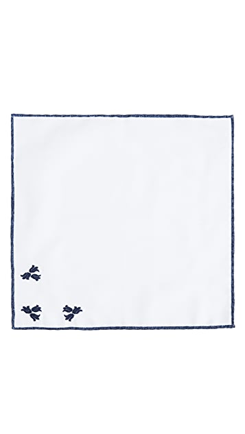 Thomas Mason Embroidered Floral Pocket Square