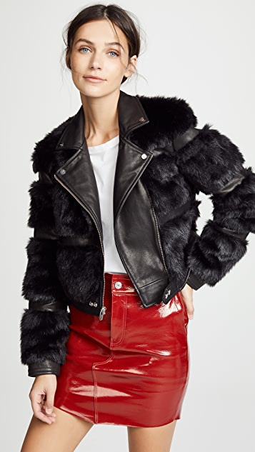 The Mighty Company Bristol Faux Fur Moto Jacket