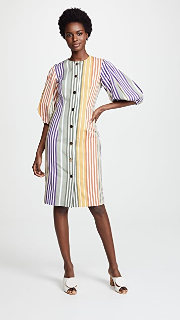 Tata Naka Button Down Dress with Puff Sleeves