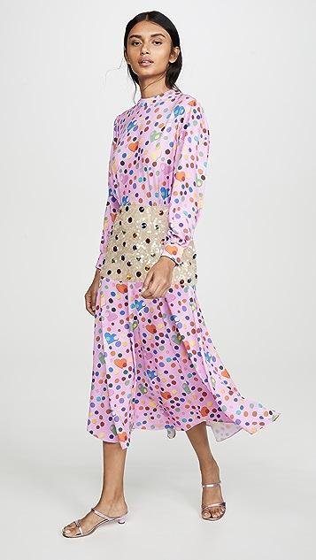 Tata Naka Платье с принтом и с расшитой бисером баской