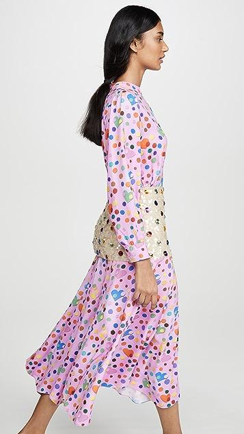 Tata Naka 珠饰腰褶下摆印花连衣裙