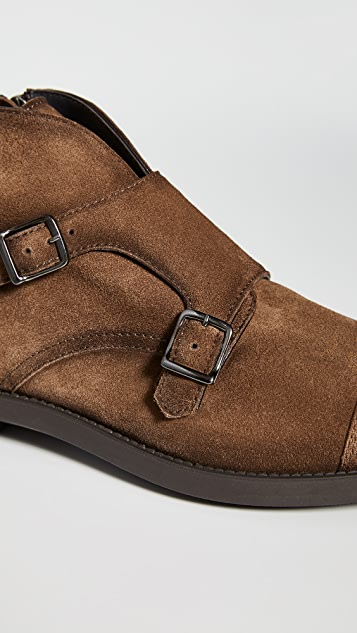 To Boot New York Basel Suede Double Monk Strap Boots