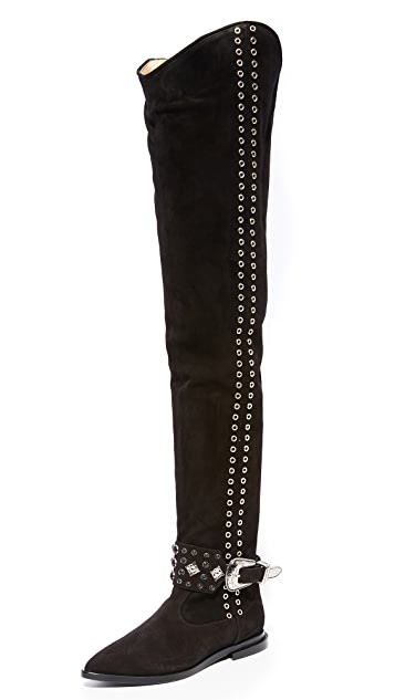 Buckle-strap knee-high leather boots Toga Archives Cheap Big Discount Cheap Discount Authentic Explore Cheap Price Clearance Classic btJfa