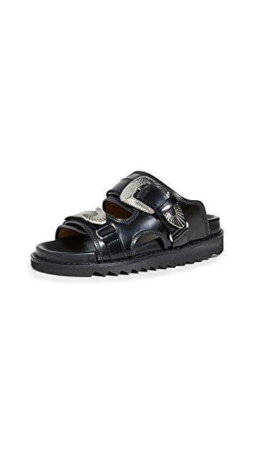 Toga Pulla Two Band Buckle Slide Sandals