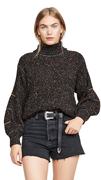 Toga Pulla Tweed Knit High Neck Sweater
