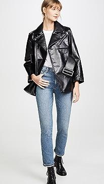 Faux Leather Bonding Jacket