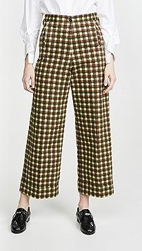 Cotton Twill Check Pants