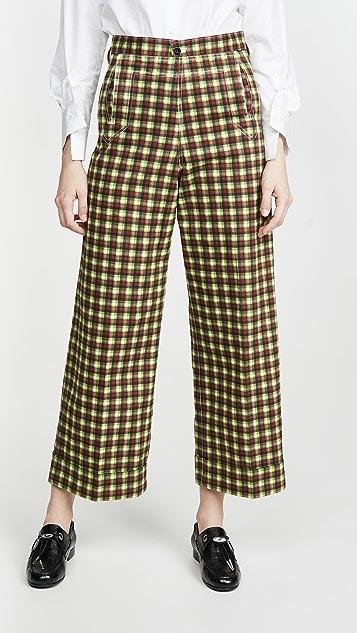Toga Pulla 棉质斜纹织物格纹裤子