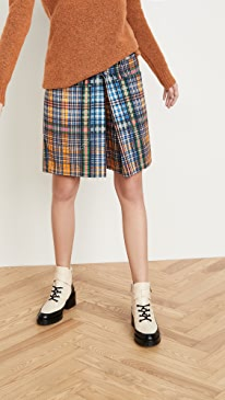 Cotton Twill Check Shorts
