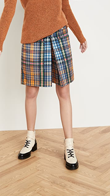 Toga Pulla 棉和斜纹织物格子短裤