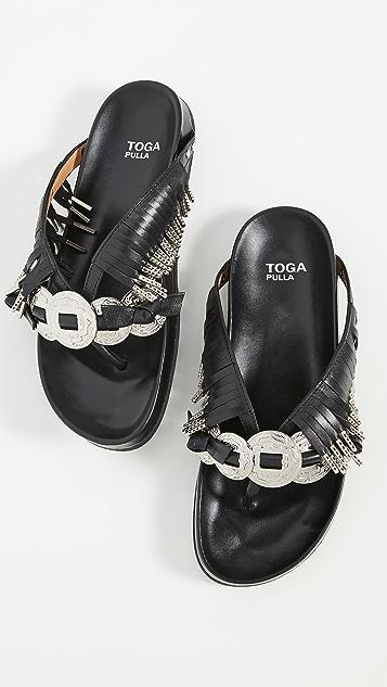 Toga Pulla 金属装饰流苏凉鞋