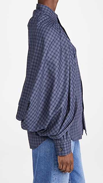 Toga Pulla 披肩棉质格纹衬衫