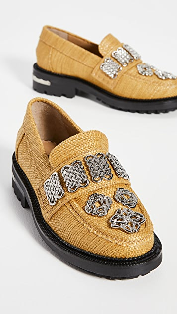 Toga Pulla Embellished Raffia Loafers