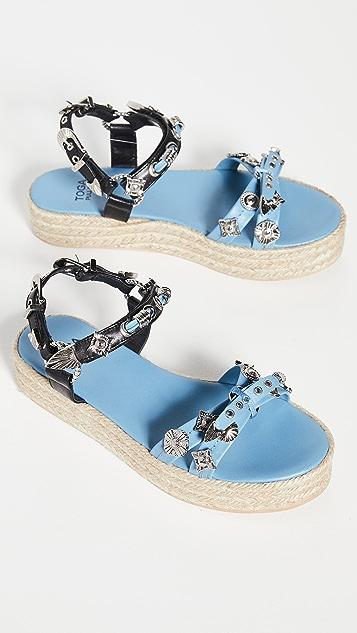 Toga Pulla 编织底坡跟绑带凉鞋