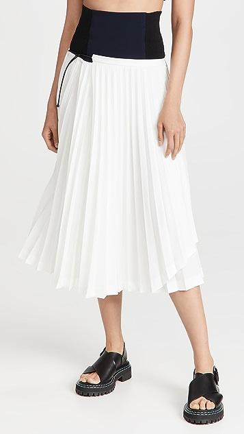 Toga Pulla Stretch Twill Pleated Skirt